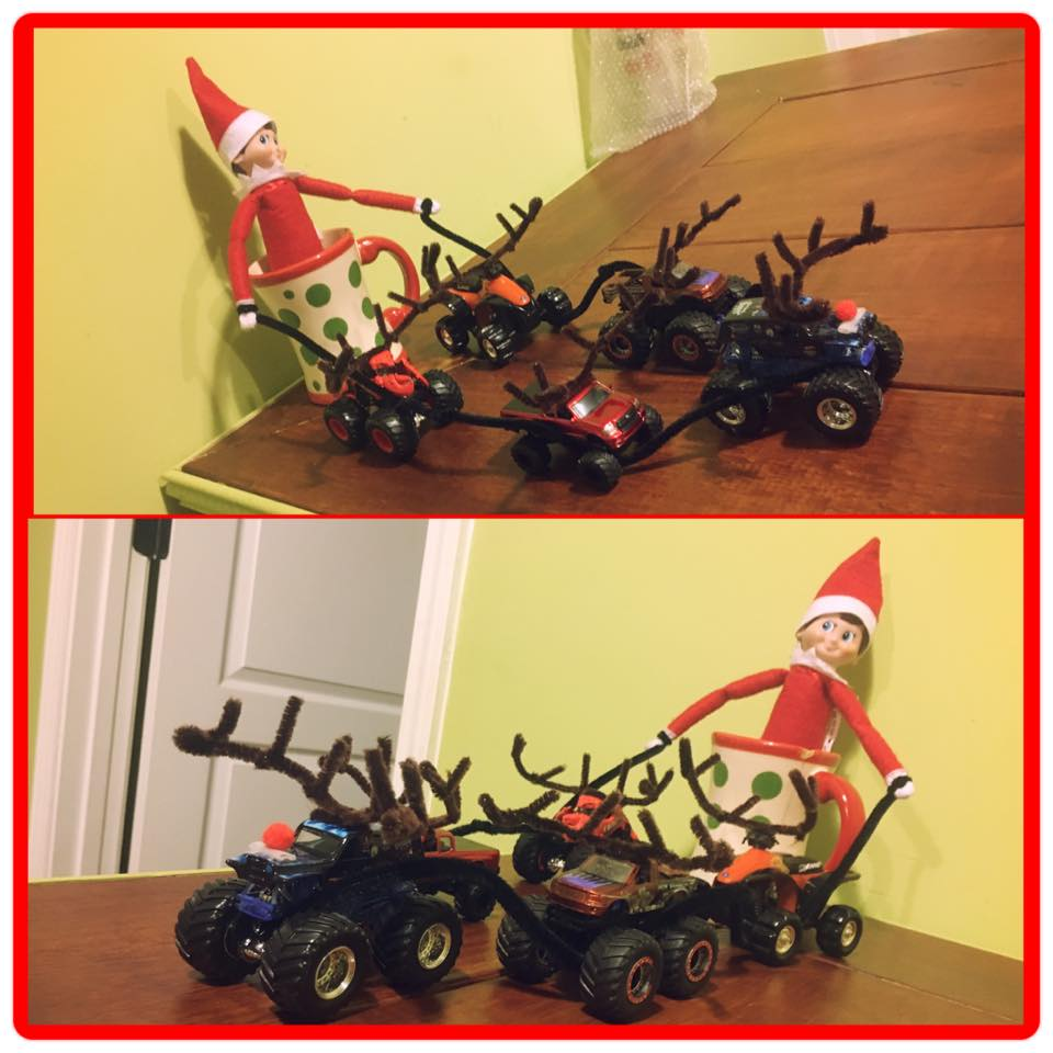 elf on the shelf ideas, Creative & unique elf ideas, monster truck reindeer