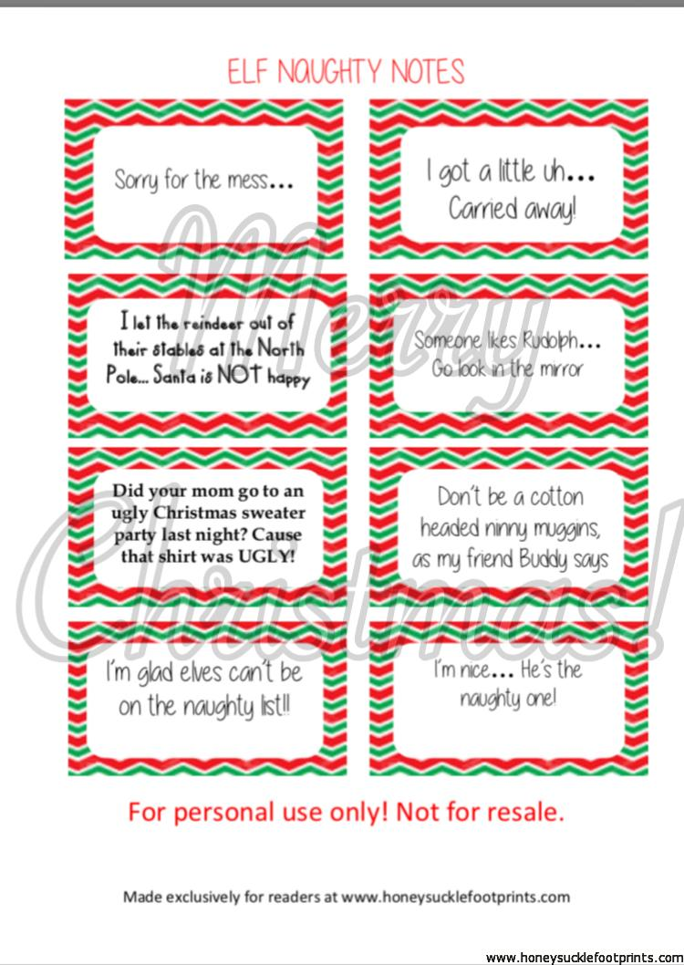 Free Printable Elf On The Shelf Naughty Cards Honeysuckle Footprints