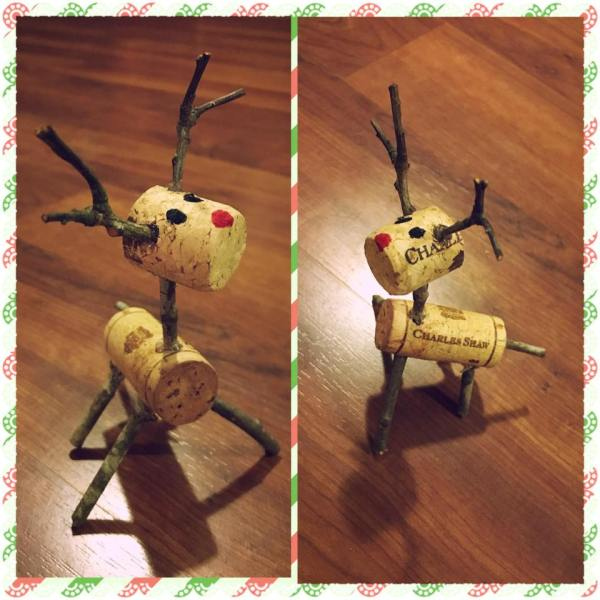 Christmas Traditions - handmade reindeer made from wine corks DIY