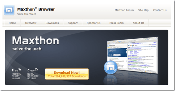 maxthon 10 Best Internet Browsers