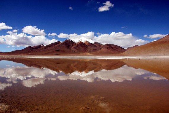 Bolivian Andes, sky, clouds and lakes combined for the most vivid reflections