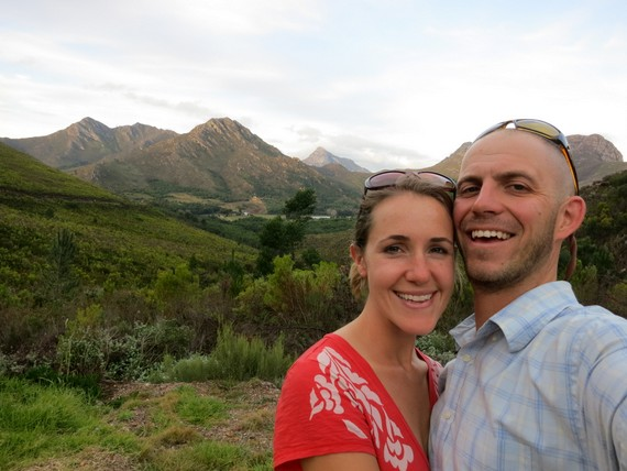 """Mike Howard """"hand-held"""" photo looking out over the majestic wine-filled mountains of South Africa"""