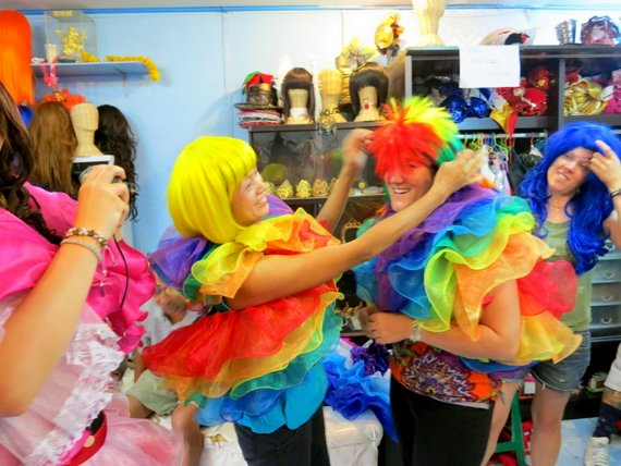 Trying on customes in Chiang Mai