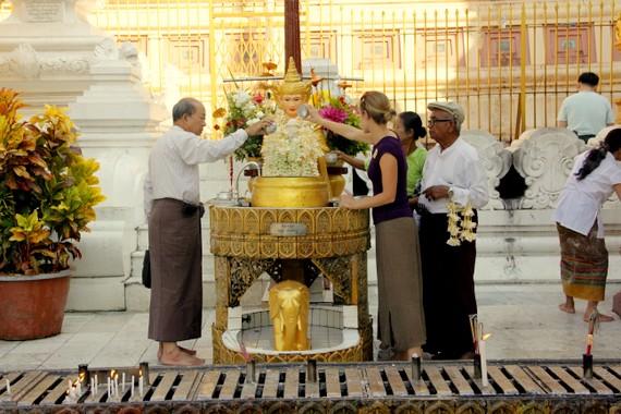 We walked clockwise around the stupa