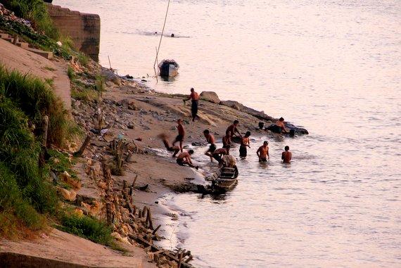 Bathing in the river Myanmar