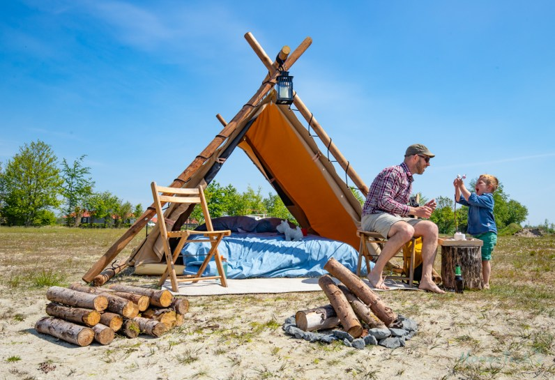 Father and Son Glamping