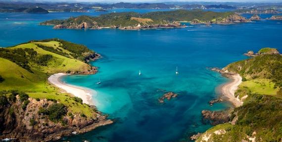 aerial shot Bay of Islands NZ