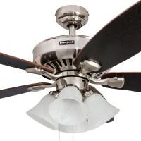 Honeywell Birnham Ceiling Fan, Brushed Nickel Finish, 52 ...