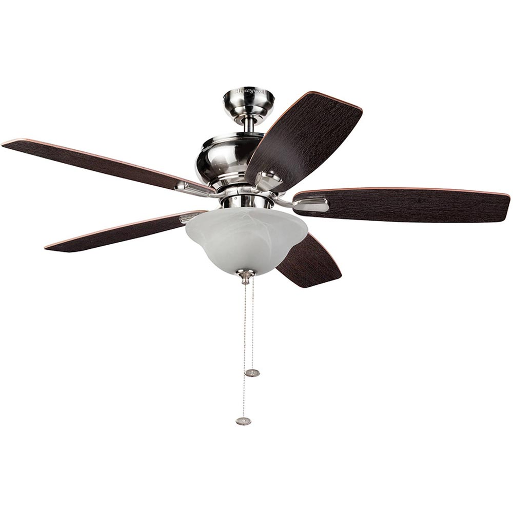 Honeywell Elston Ceiling Fan with LED Lights, Satin Nickel