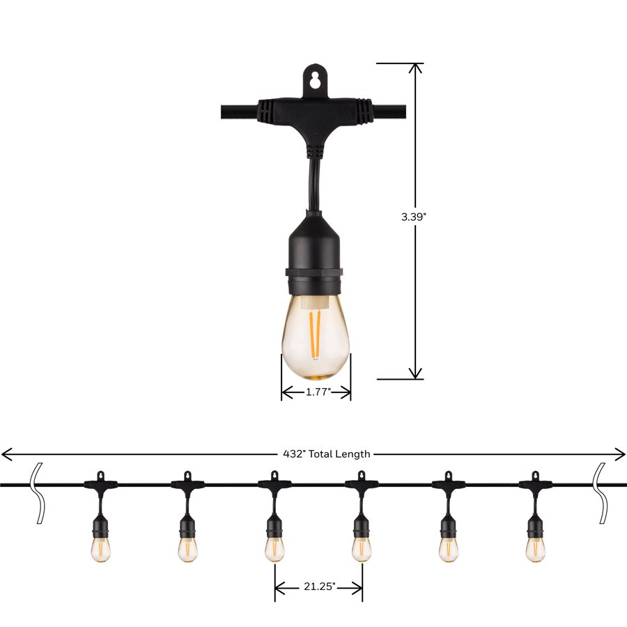 hight resolution of honeywell 36 foot replaceable filament style amber led string light set sw136a221110