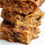 Peanut Butter Choco-Walnut BLONDIES (REDUCED CALORIES… 202)