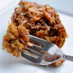 A Moist Oatmeal Cake with Coconut Pecan Topping (Reduced Fat & 206 Calories)