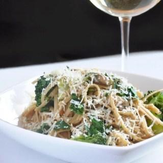 Light Veggie Scampi (Mushrooms & Broccoli in a Garlic-Butter-Wine Sauce)