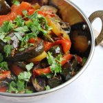 Aloo Baingan Simla Mirch (Potatoes sautéed with Eggplant and Red Bell Peppers)