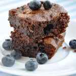 Double Chocolate Fudgy Blueberry Brownies (Reduced Fat & 156 Calories)