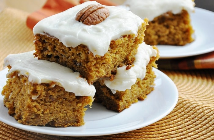 Reduced Fat Pumpkin Cake Bars