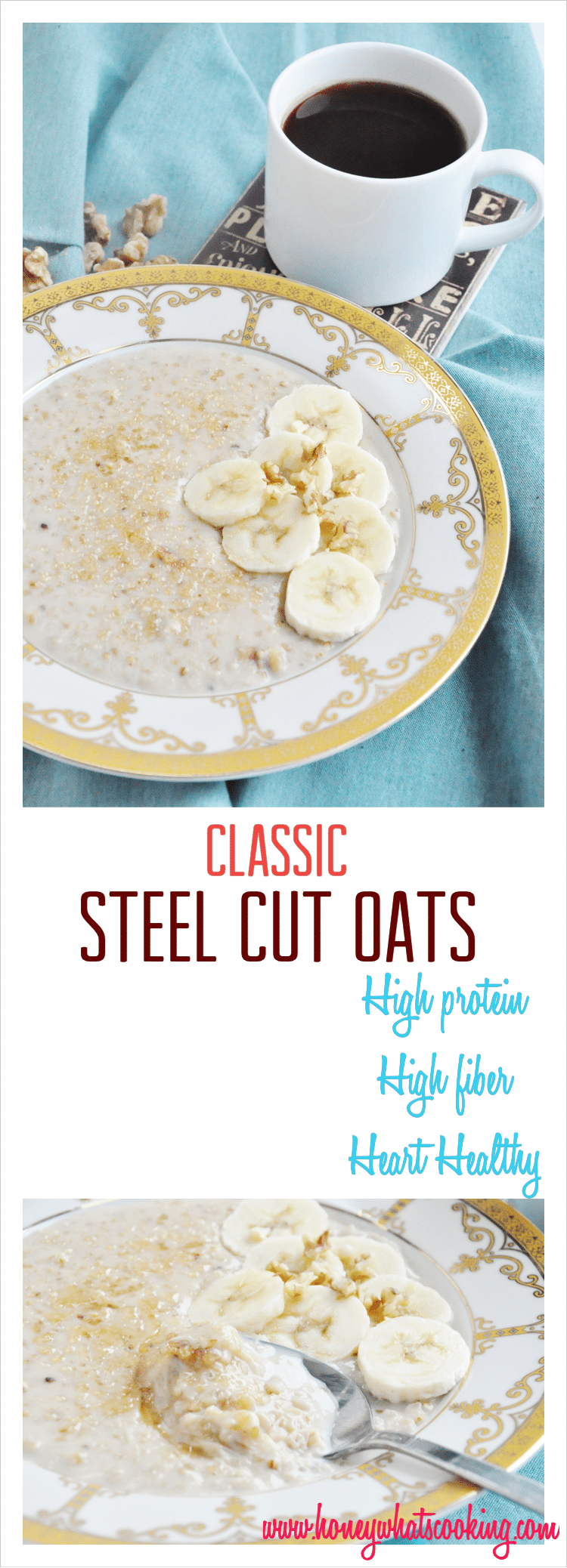 Classic Banana Walnut Steel Cut Oats pin