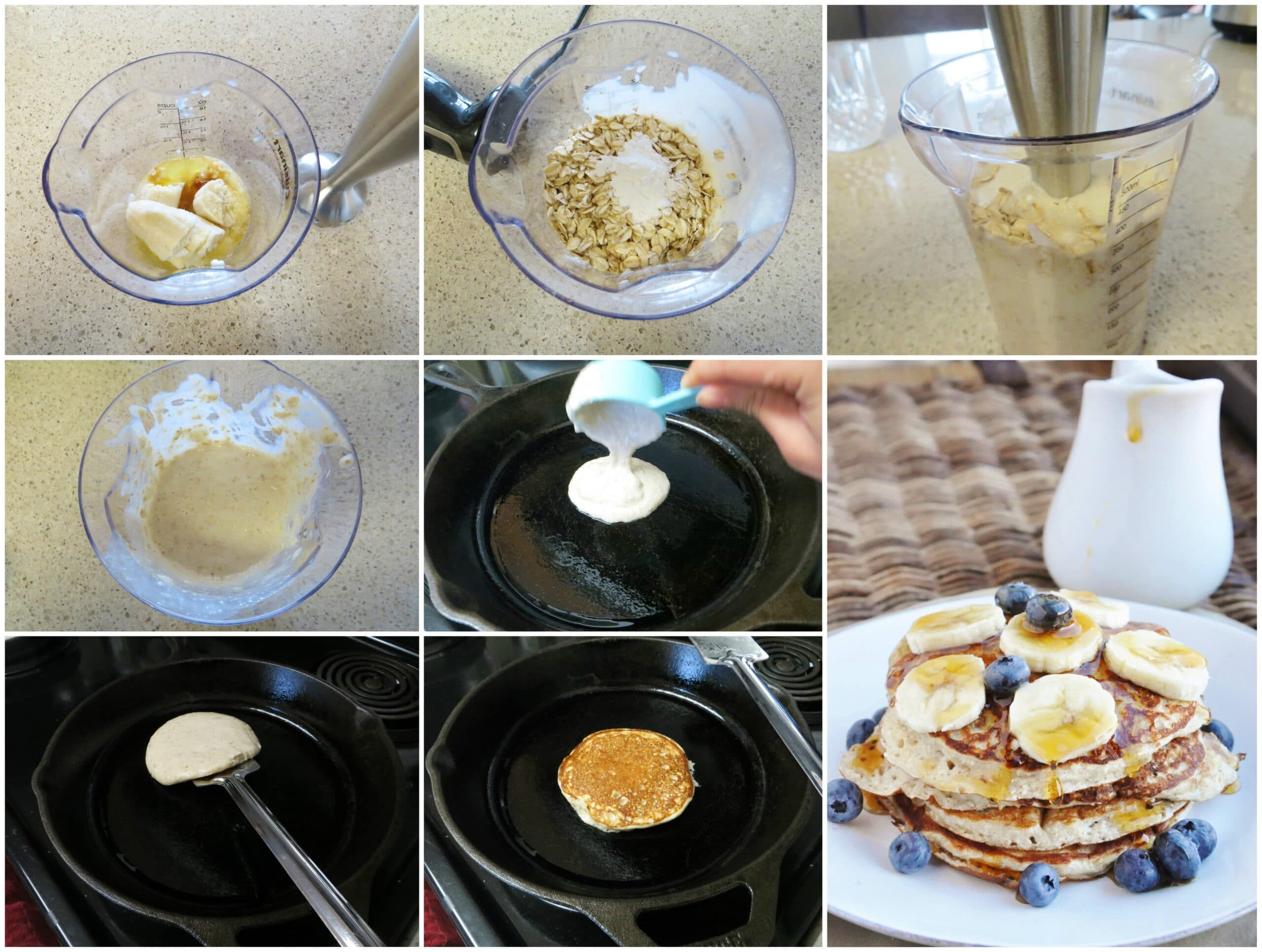HIgh Protein Banana Bread Pancakes step by step