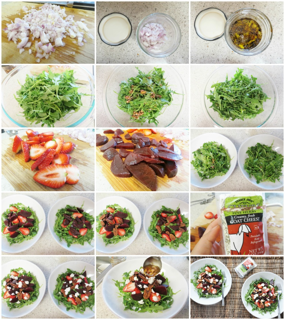 Beet Strawberry & Goat Cheese Arugula Salad step by step