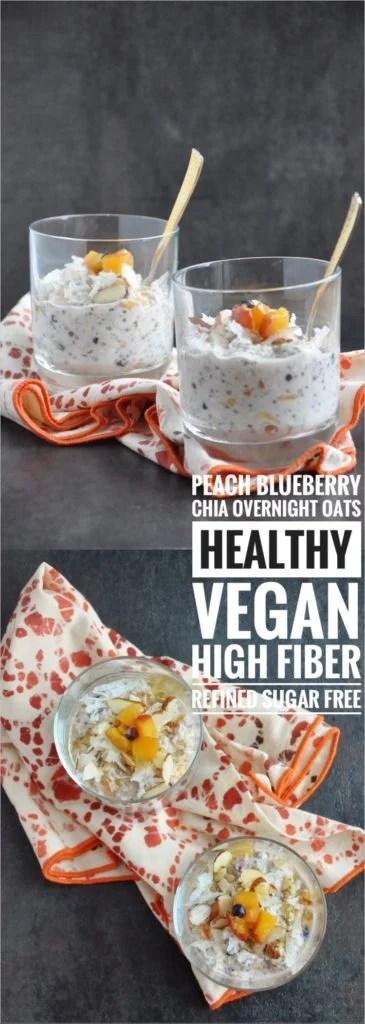 Peach Blueberry Chia Overnight Oats (healthy, vegan, high fiber, refined sugar free)
