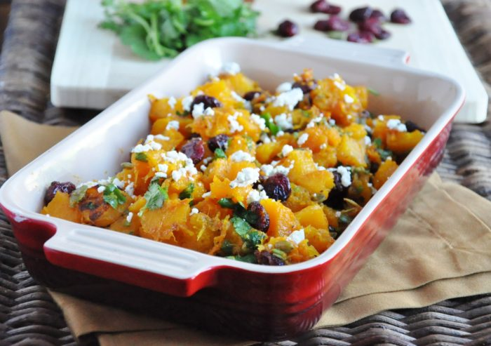 Roasted Butternut Squash with Cranberries and Goat Cheese (4)