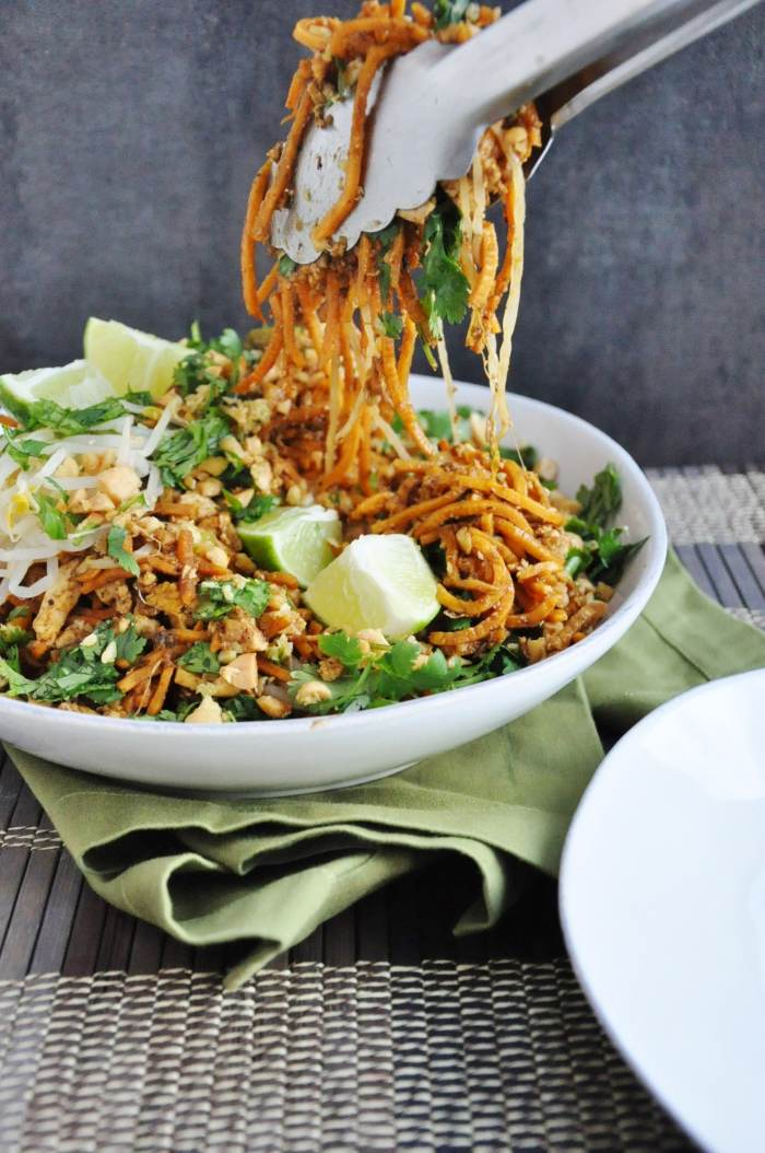 Tofu Pad Thai Sweet Potato Noodles - gluten free, dairy free, lightened up, vegetarian option