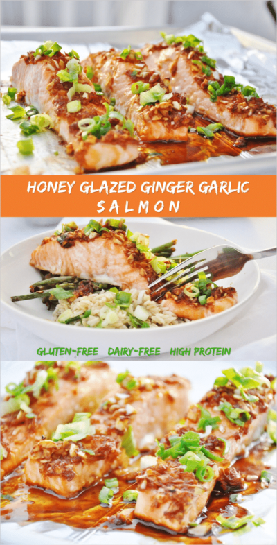 Honey Glazed Ginger Garlic Salmon - gluten-free, dairy-free, high protein