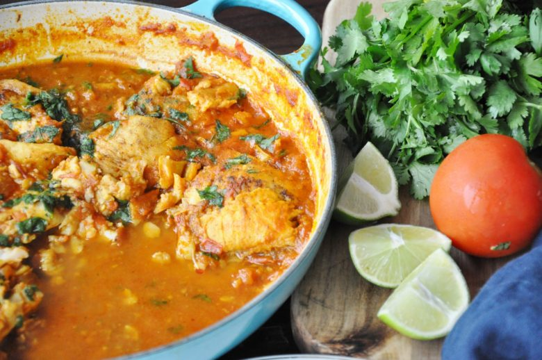 Spicy Fish Masala - wild sole cooked with tomatoes and Indian spices.