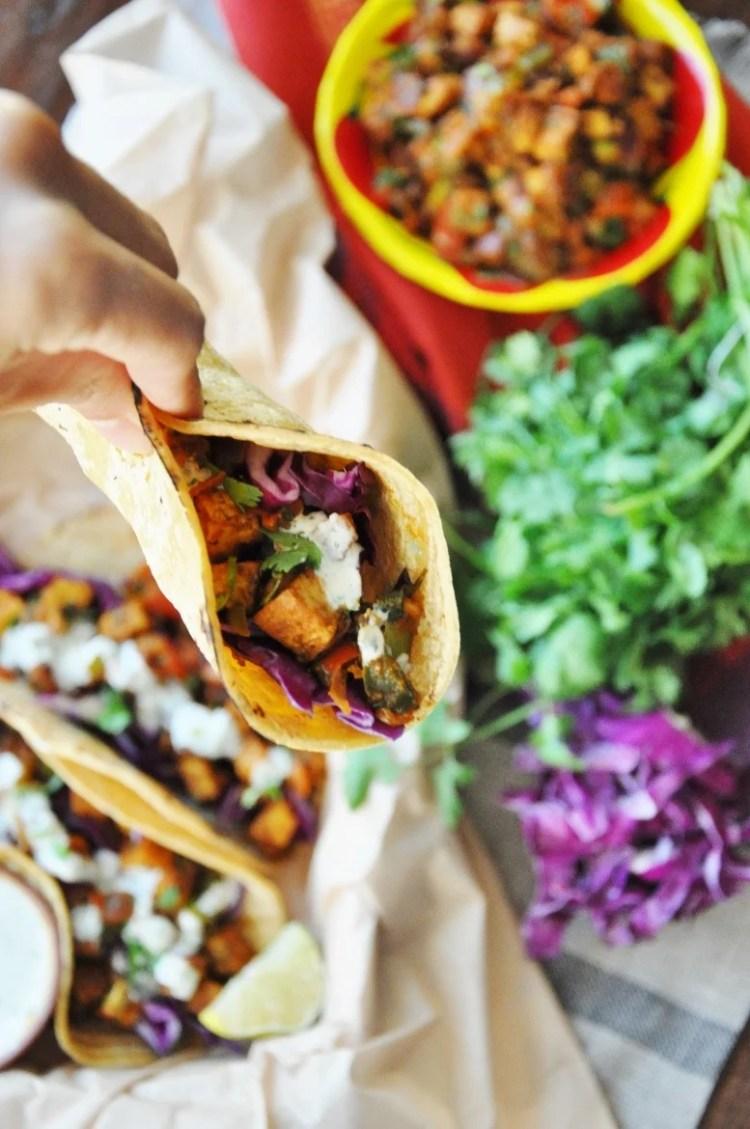 Tandoori Tofu Tacos - gluten-free, vegan option, healthyish, vegetarian