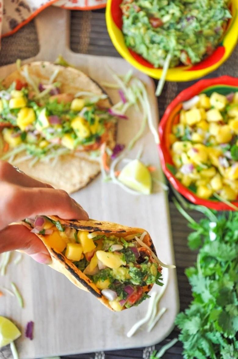 Blackened Salmon Tacos with Mango Salsa
