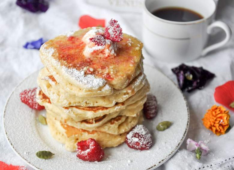 Rose Cardamom Coconut Pancakes with Raspberry Butter