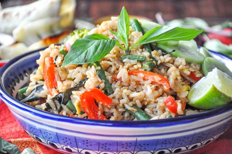 Thai Basil Fried Rice (vegetarian, GF option, vegan option)