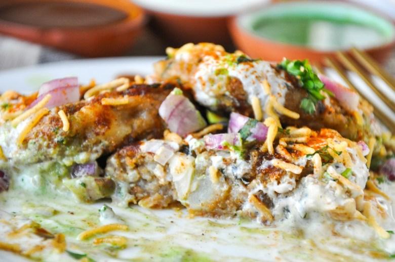 Aloo Tikki Chaat | Crispy Potato Patties (vegan option, gluten-free option)