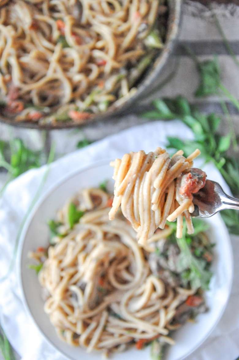 Mushroom Spaghetti (vegetarian, GF option)