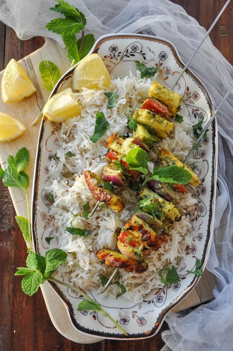Hariyali Paneer Tikka (gluten-free, vegetarian)