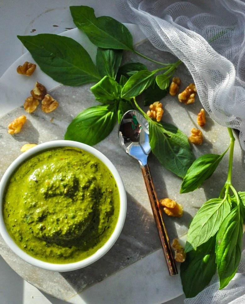 Vegan Basil Pesto (whole30, gluten-free, dairy-free)