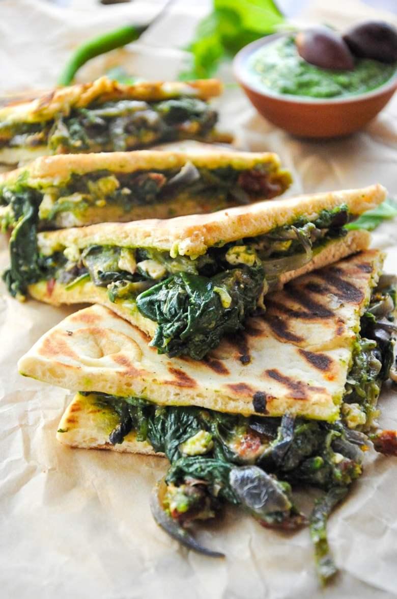 Mediterranean Pita Sandwich with Chutney Pesto (vegetarian)