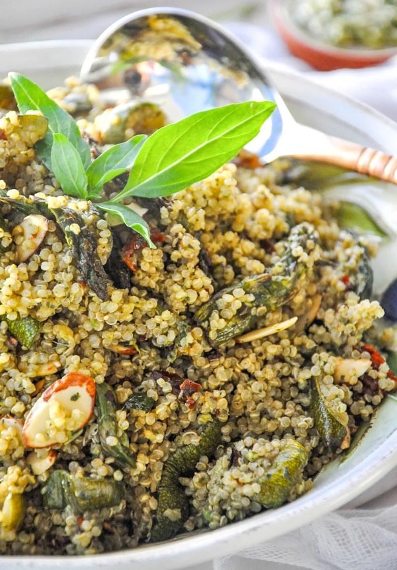 Pesto Quinoa with Roasted Veggies (vegan, healthy, gluten-free)