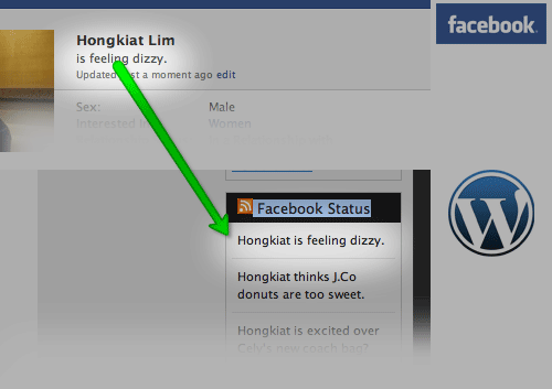 add fbstatus wp How to Display Facebook Statuses on WordPress Blog