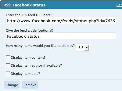 rss facebook How to Display Facebook Statuses on WordPress Blog
