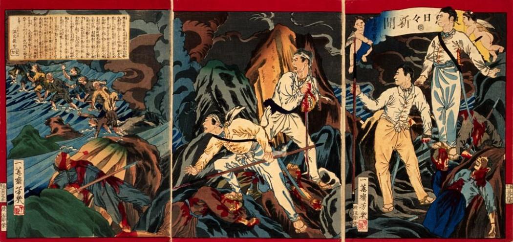 Japanese illustration depicting the Battle of Stone Gate