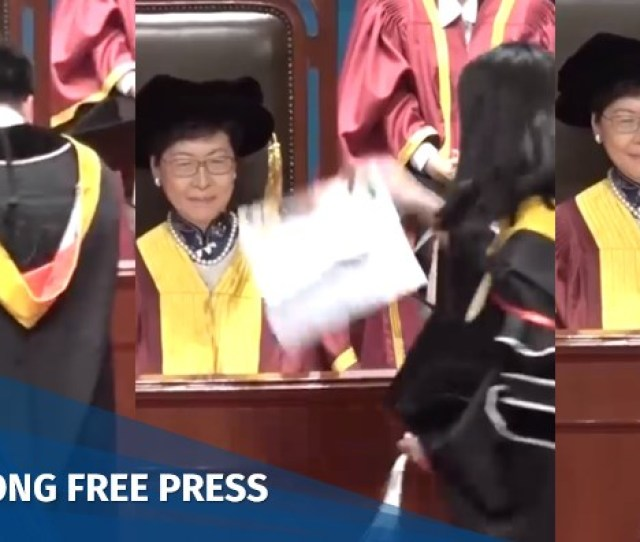 Carrie Lam Faces Protests During Lingnan Graduation Ceremony Hong Kong Free Press Hkfp