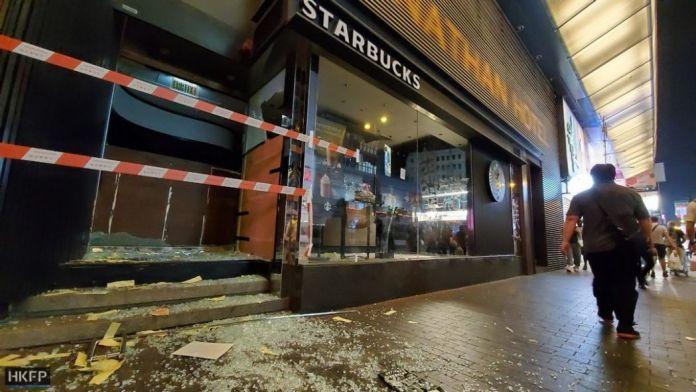October 1 National Day protests Hong Kong Island Starbucks vandalism