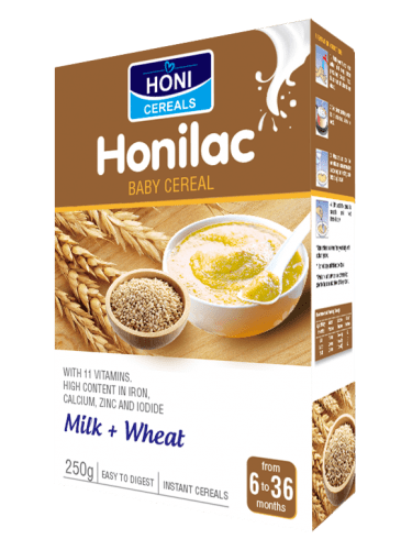 Honilac Baby Cereal with milk and wheat flavors 250 gr box