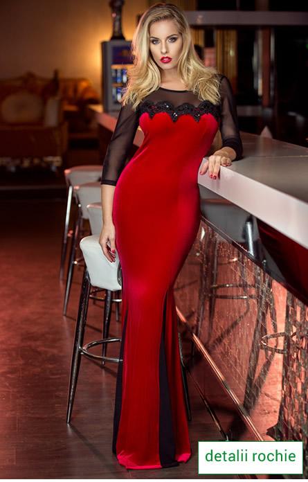rochie rosie de revelion cu paiete