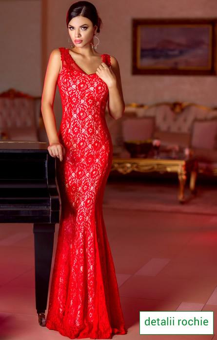 Rochie din dantela rosie speciala pentru Revelion