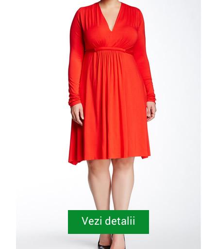 Rochie rosie cu maneci pentru femei grasute