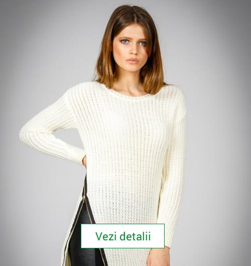 Pulover tricotat marca Be You crem deschis cu fermoar decorativ