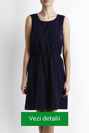 rochie cu elastic in talie bleumarin
