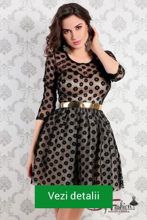 Rochie eleganta din catifea cu fusta in clos